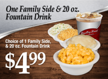 Charley Biggs One Family Side and 20 ounce fountain drink