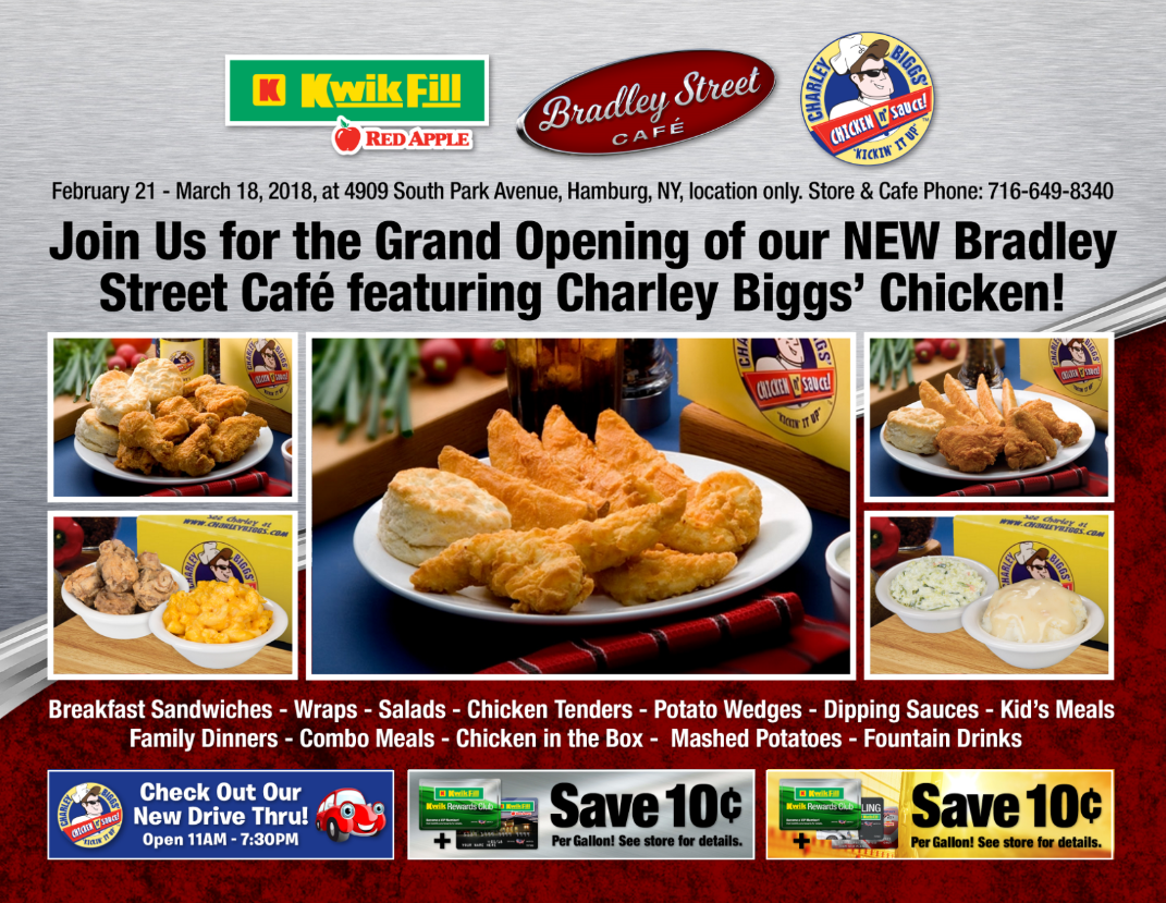 Our Charley Bigs menu